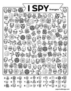 Avengers I spy activity page with various avenger faces, weapons, and symbols
