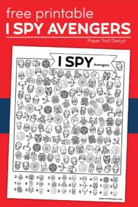 Avengers I spy activity page with text overlar free printable I spy Avengers