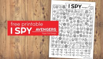 Avengers I spy activity page with text overlar free printable I spy Avengers