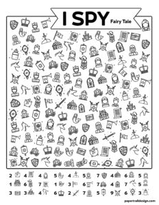 Fairy tale themed I spy activity with various fairy tale items to find on the page