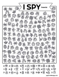 Insect themed I Spy page with various insect outlines to search for on the page