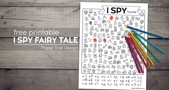 I spy activity with markings and colored pencils with text overlay- free printable I spy fairy tale.