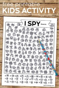 Insect themed I spy page with pencil with text overlay- free printable kids activity