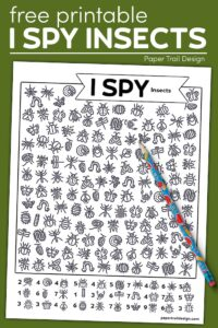 Insect themed I spy page with pencil with text overlay- free printable I spy kids activity
