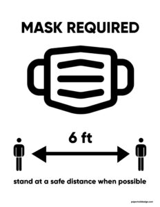 Mask Required sign with picture of mask and arrows showing to stand six feet apart