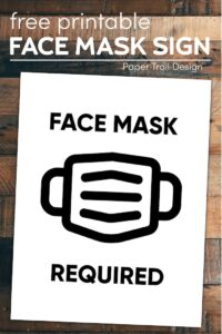 Sign with picture of face mask reading face mask required with text overlay- free printable face mask sign