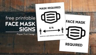 Two face mask required signs with text overlay- free printable face mask signs