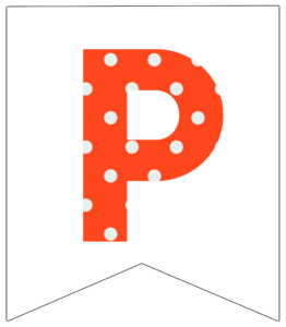 Letter P orange polka dot banner pennet for happy birthday sign
