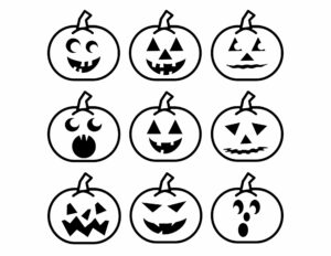 Nine pumpkinfaces to print and cut out for a Halloween memory game