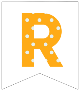 Letter R yellow polka dot banner pennet for happy birthday sign