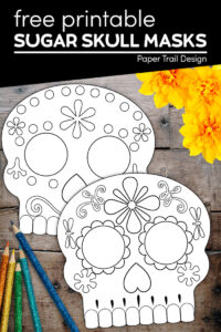 sugar skull masks to color in with text overlay- free