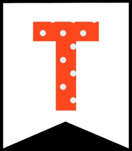 Letter T orange polka dot banner pennet for happy birthday sign
