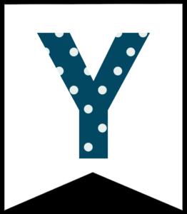 Letter Y blue polka dot banner pennet for happy birthday sign