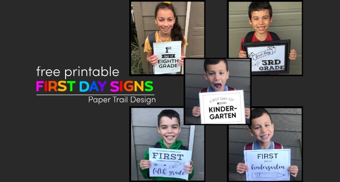 Children holding first day of school signs with text overlay- free printable first day signs