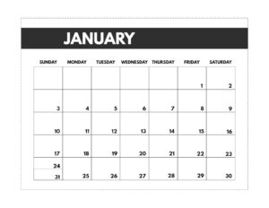 January 2021 classic calendar printable in 7 x 9.25