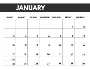 January 2021 bold calendar printable in 8.5 x 11