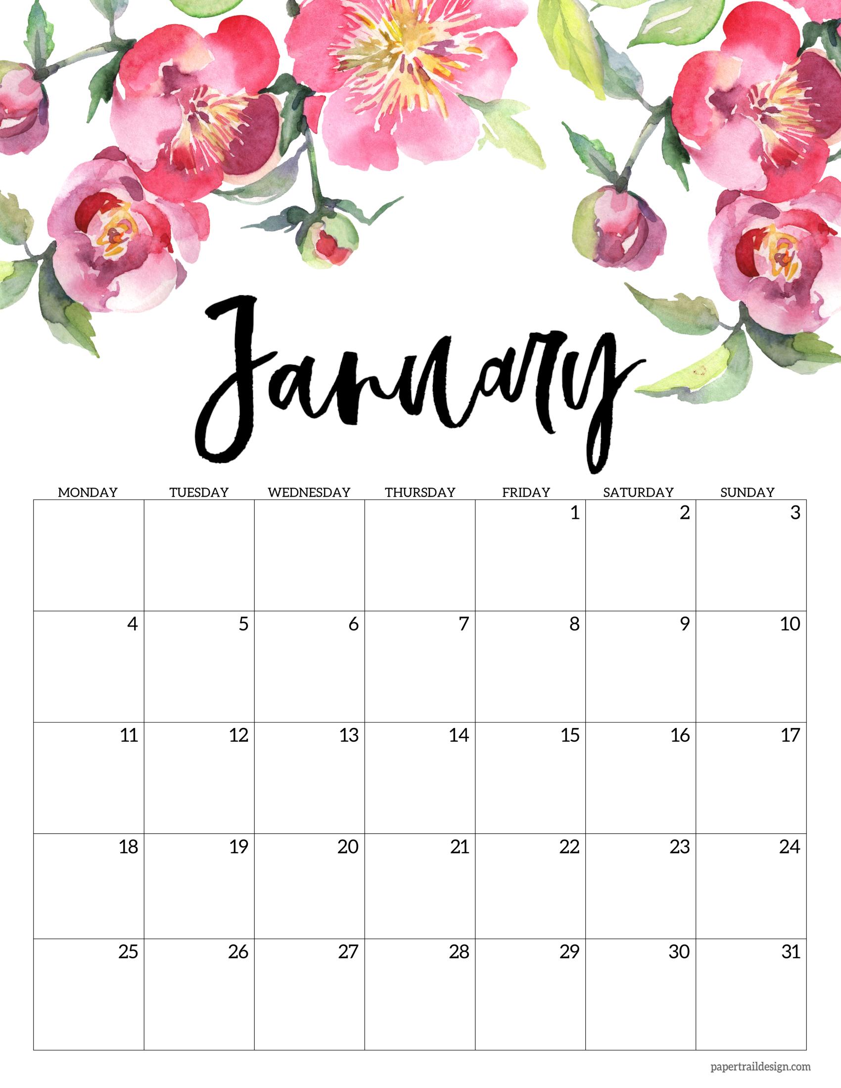 Free Printable 2021 Floral Calendar - Monday Start   Paper ...