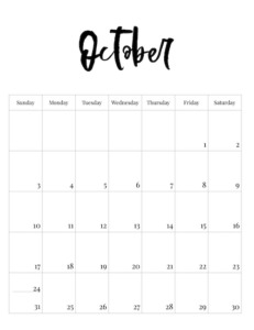October vertical black and white calendar page with calligraphy