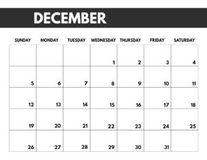 December 2021 bold calendar printable in 8.5 x 11
