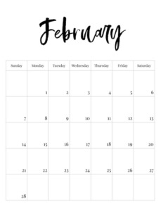 February vertical black and white calendar page with calligraphy