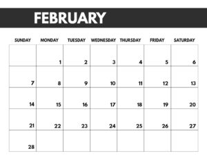 February 2021 bold calendar printable in 8.5 x 11