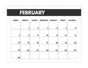 February 2021 classic calendar printable in 7 x 9.25