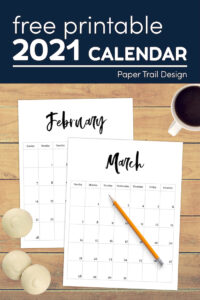February and March full page printable calendar with text overlay-free prinable 2021 calendar