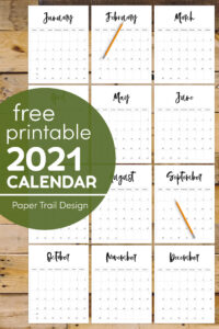 2021 printable calendar pages from January to December with text overlay-free prinable 2021 calendar