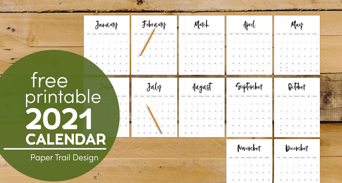 Free calendar pages from January to December with pencils on top with text overlay-free prinable 2021 calendar