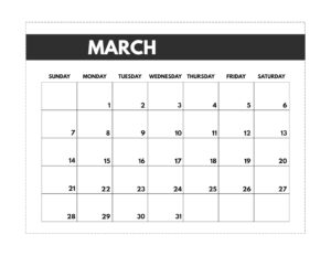 March 2021 classic calendar printable in 7 x 9.25