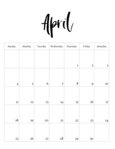 April vertical black and white calendar page with caligraphy