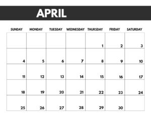 April 2021 bold calendar printable in 8.5 x 11