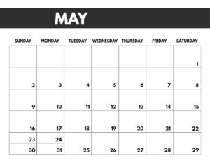 May 2021 bold calendar printable in 8.5 x 11