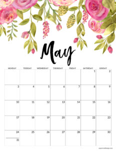 Free Printable 2021 Floral Calendar - Monday Start | Paper ...