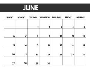 June 2021 bold calendar printable in 8.5 x 11