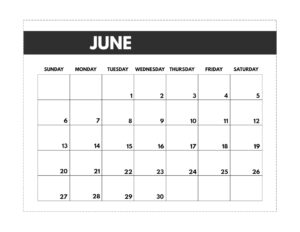 June 2021 classic calendar printable in 7 x 9.25