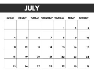 July 2021 bold calendar printable in 8.5 x 11