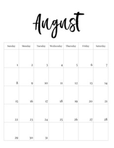 August vertical black and white calendar page with calligraphy