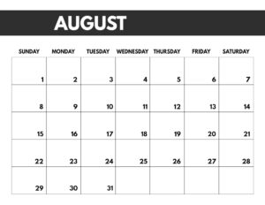 August 2021 bold calendar printable in 8.5 x 11