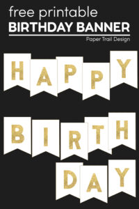 Gold Happy Birthday banner DIY free printable pennants with text overlay- free printable Happy Birthday