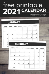 January and February 2021 calendar to print by month with text overlay- free printable 2021 calendar