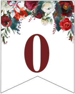 Number 0 Christmas pennant banner with red and green Christmas flowers