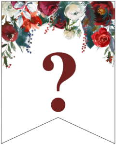 Question mark Christmas pennant banner with red and green Christmas flowers