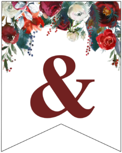 Ampersand Christmas pennant banner with red and green Christmas flowers