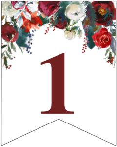 Number 1 Christmas pennant banner with red and green Christmas flowers