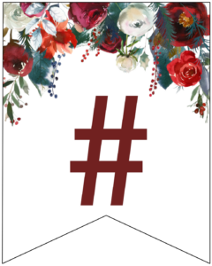 Hashtag Christmas pennant banner with red and green Christmas flowers