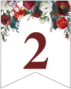 Number 2 Christmas pennant banner with red and green Christmas flowers