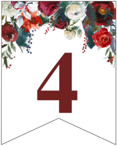 Number 4 Christmas pennant banner with red and green Christmas flowers