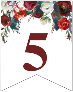 Number 5 Christmas pennant banner with red and green Christmas flowers