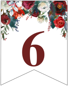 Number 6 Christmas pennant banner with red and green Christmas flowers